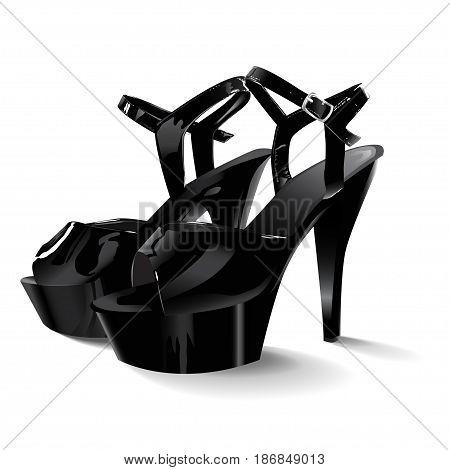 Patent leather black shoes, vector illustration EPS