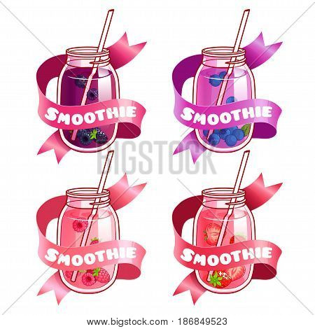 Four stickers with ribbon and different smoothies in jars. Bilberry blueberry raspberry and strawberry fresh drinks. Vector illustration isolated on a white background.