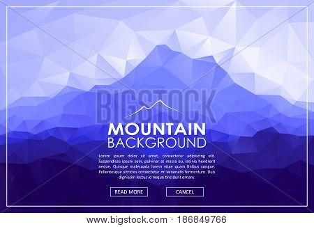 Triangle low poly landscape with blue mountain range. Vector polygonal illustration.