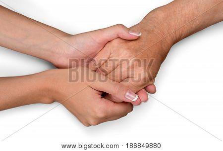Care holding hands assistance elderly holding hands elder