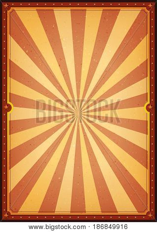 Illustration of a retro circus poster with sunbeams and grunge texture