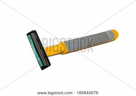 Used razor yellow portable isolated on white background