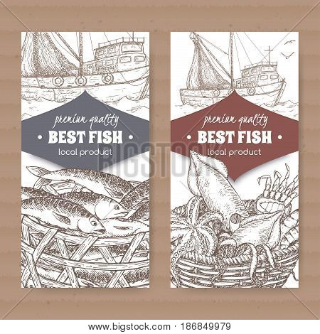 Set of two labels with fishing boat, fish and seafood basket on white background. Great for markets, fishing, fish processing, canned fish, seafood product label design.