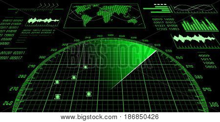 Radar screen with futuristic user interface HUD. Vector illustration.