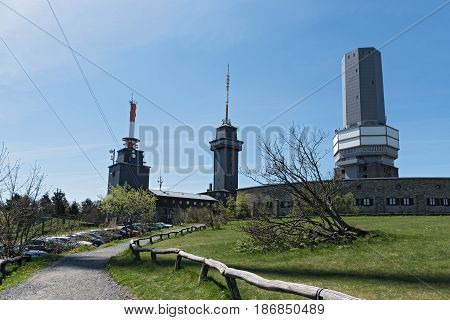 View of the summit of the Great Feldberg in the Taunus with view tower and TV tower, Hesse, Germany