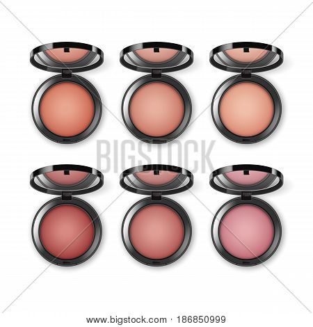 Vector Set of Blusher in Black Round Plastic Case with Mirror Top View Isolated on White Background