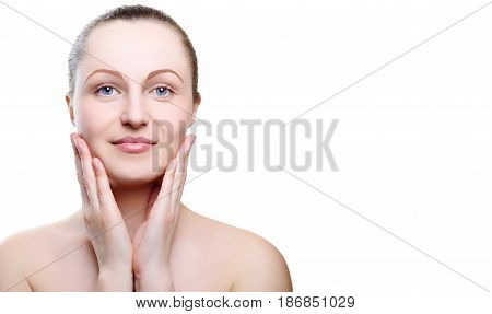 Portrait Of A Girl With Nude Make-up With Hands On Chin Isolated On White Background. Girl With Clea