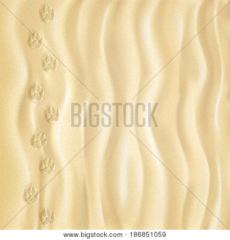 Closeup of sand pattern of a beach in the summer. Clear deep footprints on sand. Track. Overhead view. Texture of sand surface. Vector illustration. Background.