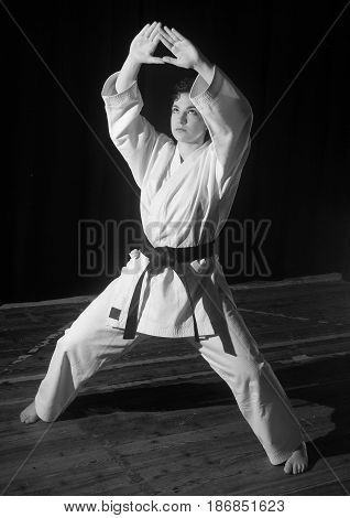Black and white karate techniques illustrated by a black belt girl. ,