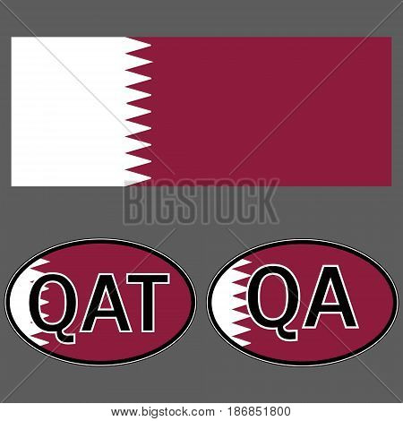 Qatar flag and sticker on the car with the acronym QA and QAT, the vector domain of the country