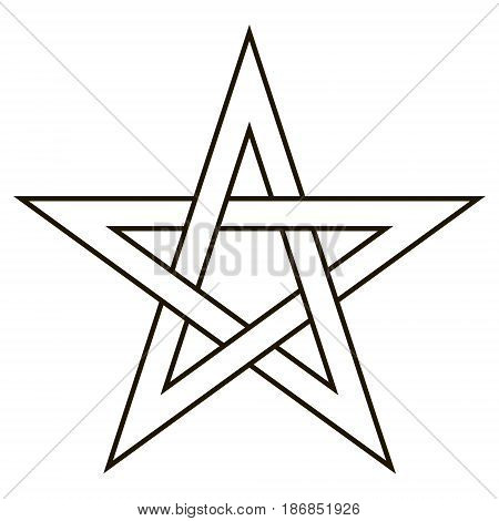 Pentagram five end star with weave sides, sector symbol of dark forces