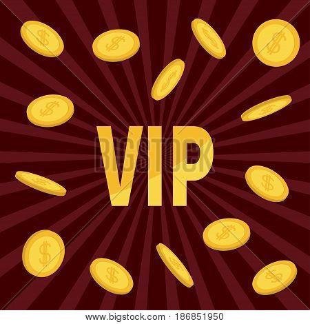 VIP. Golden text Flying dollar sign gold coin rain. Online casino roulette poker slot machines card games gambling club banner. Flat design. Bordo starburst sunburst background. Vector