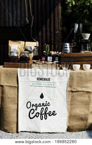 Organic Coffee Aroma Refreshment Setting Display