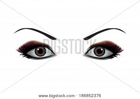 Beautiful Women Eyes with make up. Vector illustration