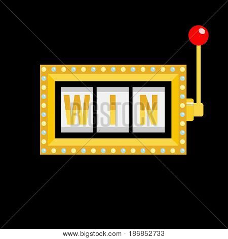 Win text. Slot machine. Golden glowing lamp light. Red handle lever. Online casino gambling club sign symbol. Flat design. Black background. Isolated. Vector illustration