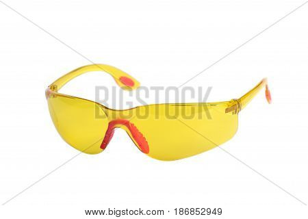 New safety glasses isolated on white background