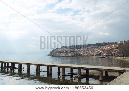 OHRID, MACEDONIA - MARCH 12, 2017: Bridge near the pier of Ohrid lake