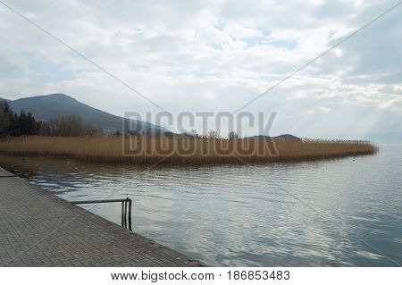 Promenade of Ohrid lake, the Macedonian republic