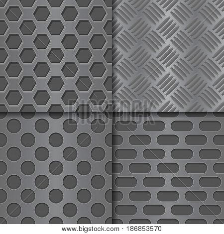 Metal perforated background. Seamless pattern. Vector illustration