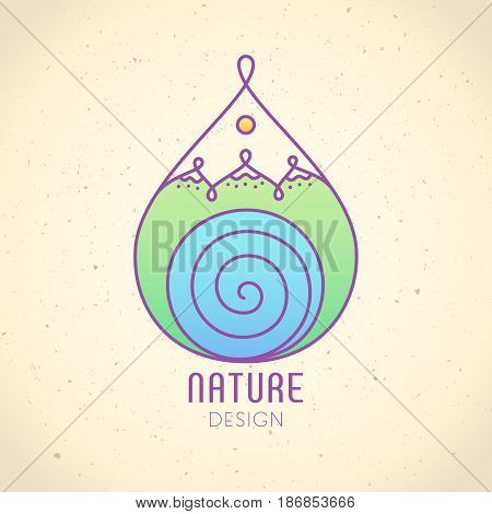 Vector logo in the form of drop on vintage background. Linear icon of landscape - mountains, river. Business emblems, badge for a travel, ecology and climate concepts, spa, health and yoga Center.