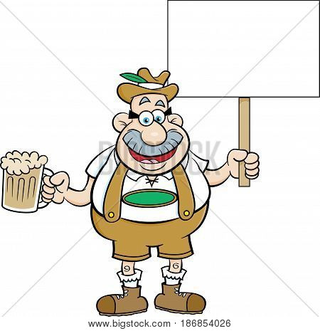 Cartoon illustration of a man holding a beer mug and a sign.