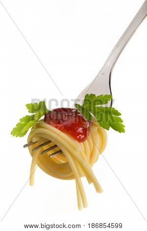 Italian food spaghetti fork carbohydrate isolated closeup tomato sauce