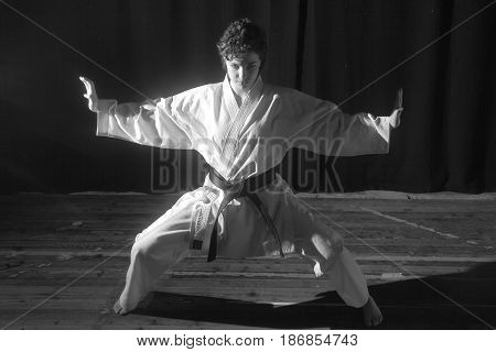 Black and white karate techniques illustrated by a black belt girl. Karate, maestro, kata, technique, combat, gym, fighter, victory, concentration, student, shots, black and white,