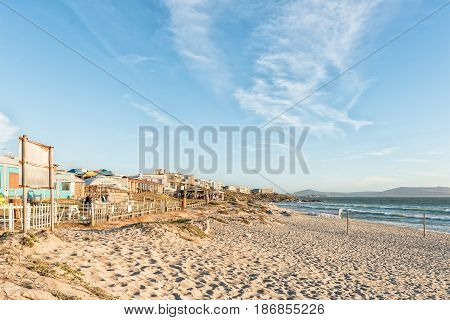 LANGEBAAN SOUTH AFRICA - APRIL 1 2017: Sunset at a beach at Mykonos in Langebaan a town on the Atlantic Coast of the Western Cape Province