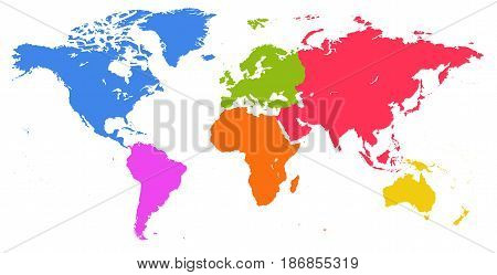 Vector bright similar World map isolated on white background. Colorful red blue green Worldmap template website design cover annual reports infographics. Flat Earth Graph World map illustration.
