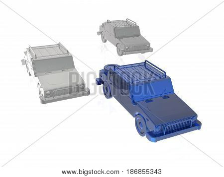 Blue and grey cars on white reflective background 3D illustration.