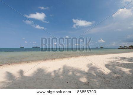 Shadow on the beach with blu sky