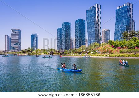Incheon, South Korea - May 05, 2015: Central Park In Songdo International Business District, Incheon