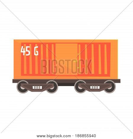 Orange cargo wagon. Railway and cargo transportation. Colorful cartoon illustration isolated on a white background