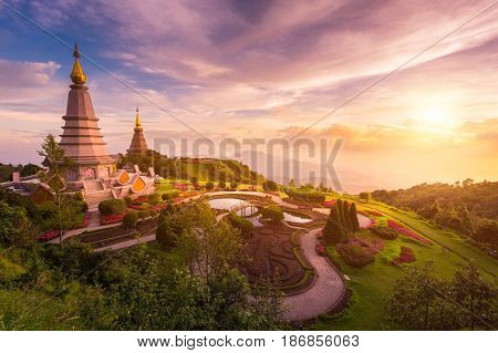 Beautiful Temple In Thailand, Pagoda On Inthanon National Park At Chiang Mai, Thailand.
