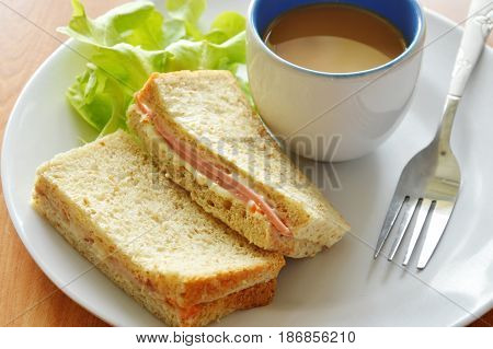pork bologna whole wheat sandwich with fresh green oak and coffee on dish