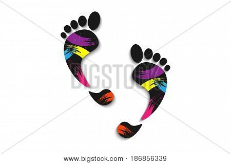 Feet, Prints Foots On A White Background