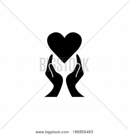 Heart with hands solid icon,  healtcare sign, vector graphics, a filled pattern on a white background, eps 10.