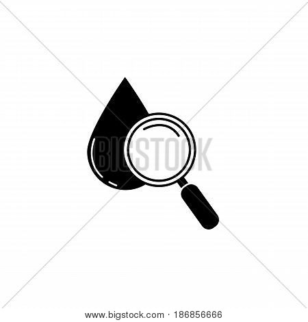 Blood drop test with magnifier solid icon, vector graphics, filled pattern on a white background, eps 10.