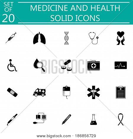 Medicine and health solid icon set medical symbols collection, vector sketches, logo illustrations, filled pictograms isolated on white background, eps 10.