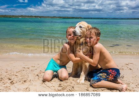Two brother boys hugging golden retriever on the sandy beach