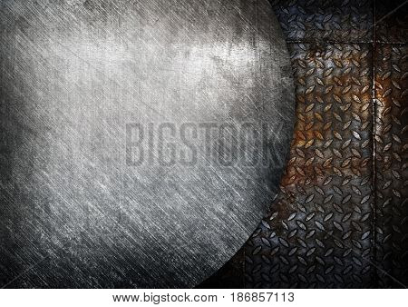 scratched metal on diamond plate background