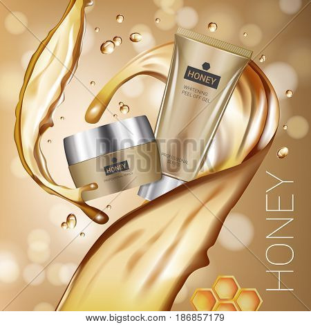 Honey skin care series ads. Vector Illustration with honey smoothing cream tube and container. Poster.