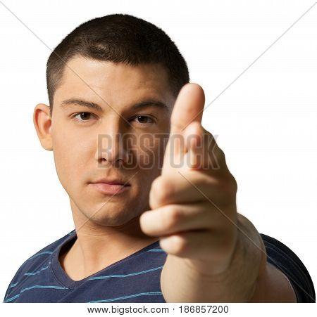 Man young adult young man finger gun male serious gun gesture