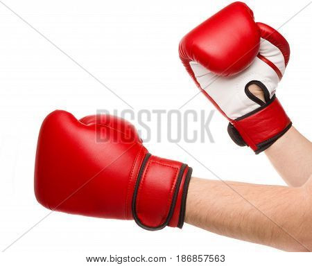 Boxing red glove protection punch knock hand
