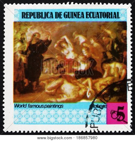EQUATORIAL GUINEA - CIRCA 1978: a stamp printed in Equatorial Guinea shows Painting by Rubens Flemish Painter circa 1978