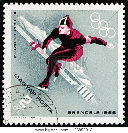 HUNGARY - CIRCA 1968: a stamp printed in Hungary shows Speed Skating Winter Sport 10th Winter Olympic Games Grenoble circa 1968
