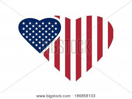 Two hearts painted in the colors of the USA flag. American Flag in heart. Heart Shape US America flag isolated on white background. Vector illustration