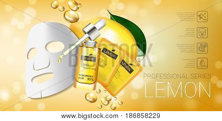 Lemon skin care mask ads. Vector Illustration with lemon whitening mask and packaging. Horizontal Banner.