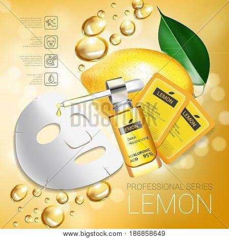 Lemon skin care mask ads. Vector Illustration with lemon whitening mask and packaging. Poster.