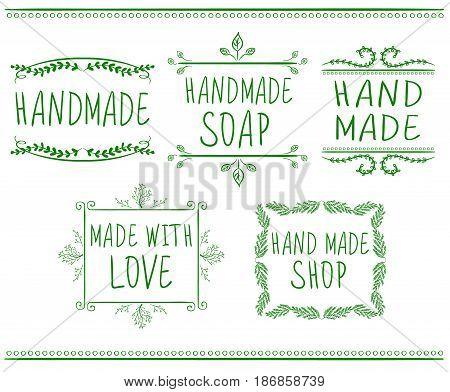 Set of typographic elements. Hand made. VECTOR handwritten letters. Green drawings isolated on white background